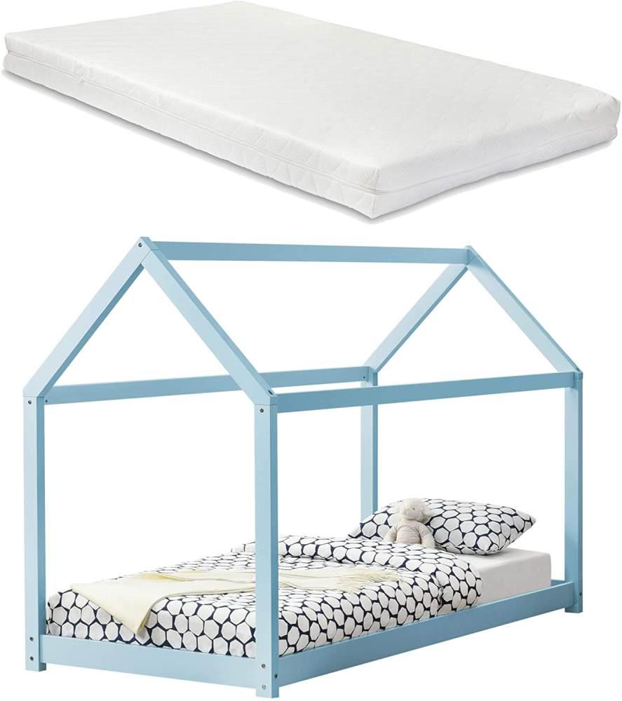 en.casa Hausbett blau, 90x200 cm, inkl. Matratze und Lattenrost Bild 1