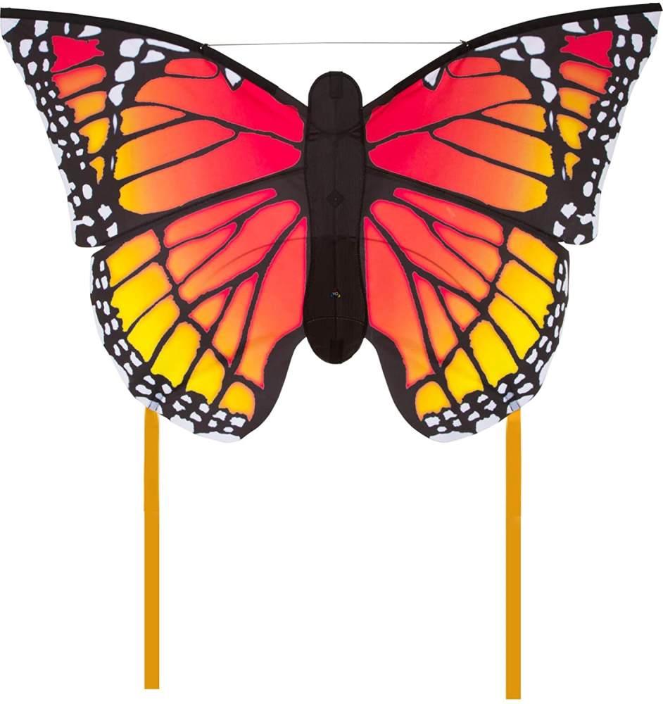 HQ Windspiration 106544 - Butterfly Monarch 'L' Kinderdrachen Einleiner, ab 5 Jahren, 80x130cm und 2x600cm Drachenschwanz, inkl. 17kp Polyesterschnur 40m auf Spule, 2-5 Beaufort Bild 1