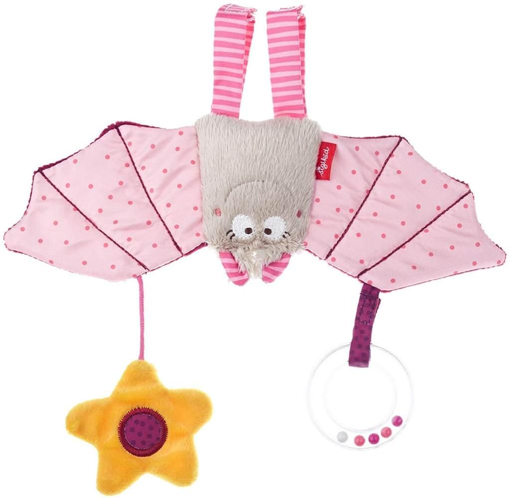 SIGIKID Mädchen, Aktiv-Anhänger Fledermaus mit Rassel, Babyspielzeug, empfohlen ab 0 Monaten, rosa, 42208 Bild 1