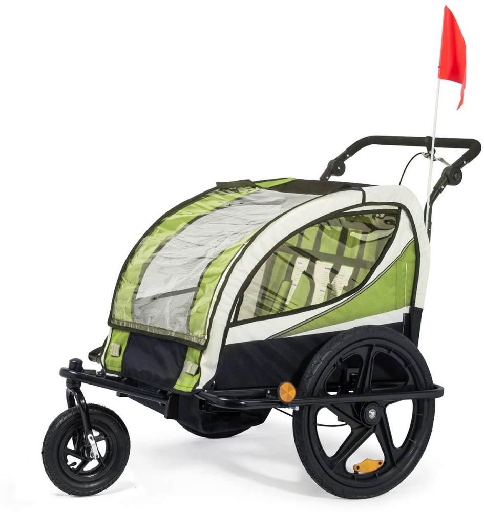 SAMAX Fahrradanhänger Jogger 2in1 360° drehbar Kinderanhänger Kinderfahrradanhänger Transportwagen vollgefederte Hinterachse für 2 Kinder in Grün - Black Frame Bild 1
