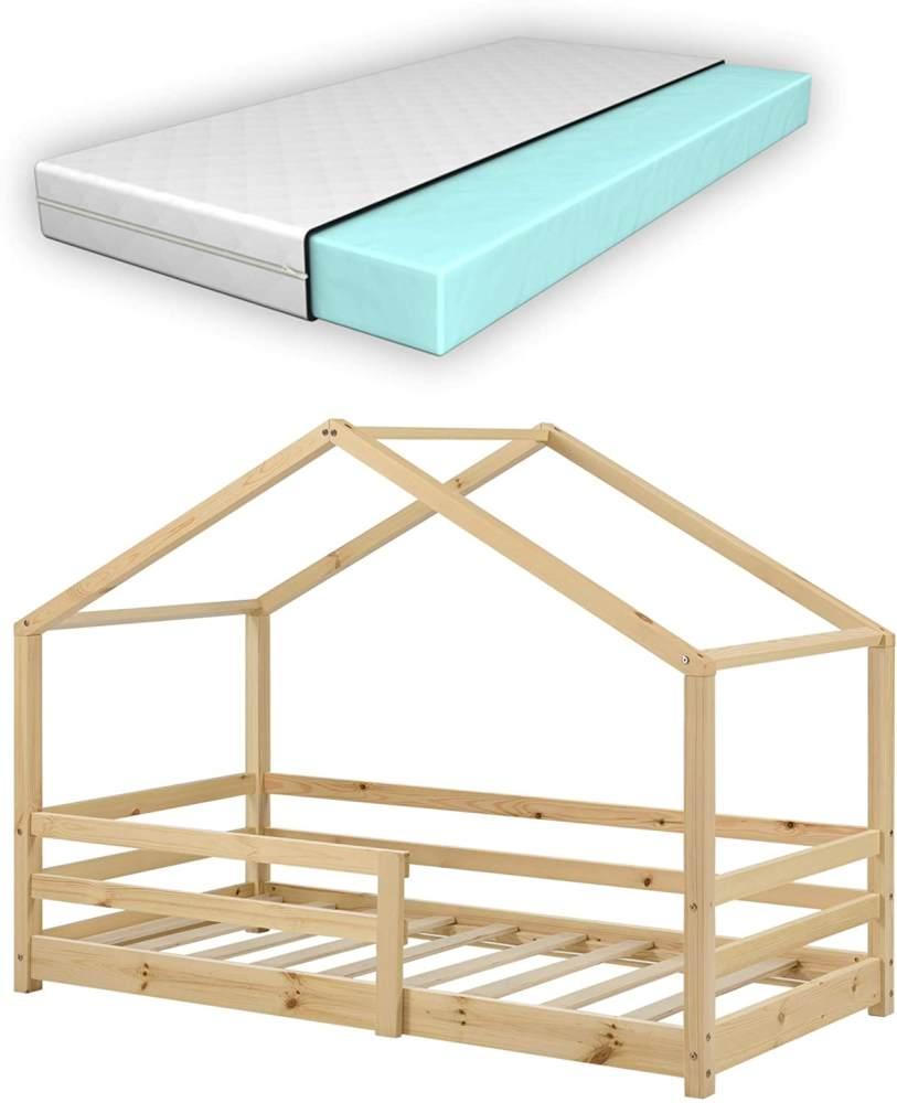 en.casa Kinderbett natur, mit Matratze und Rausfallschutz 80x160cm Bild 1