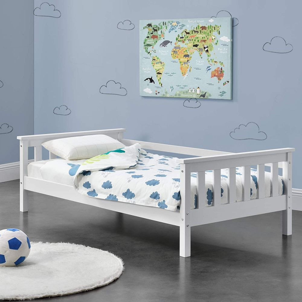 en.casa Kinderbett aus Kiefernholz mit Lattenrost und Rausfallschutz 80x160 cm, weiß Bild 1