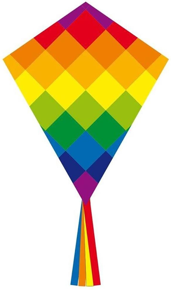 Ecoline 102116 - Eddy Rainbow Patchwork 70cm Kinderdrachen Einleiner, ab 5 Jahren, 70x58cm und 2.5m Drachenschwanz, inkl. 17kp Polyesterschnur 25m auf Griff, 2-5 Beaufort Bild 1