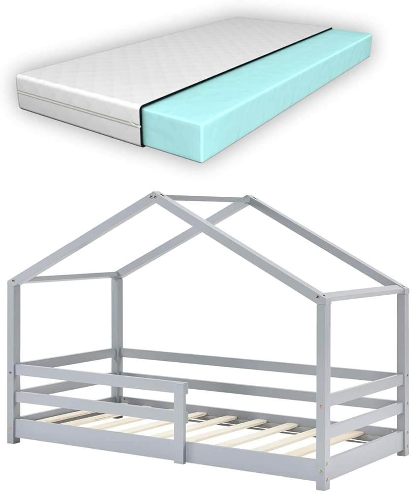 en.casa Kinderbett grau, mit Matratze und Rausfallschutz 80x160cm Bild 1