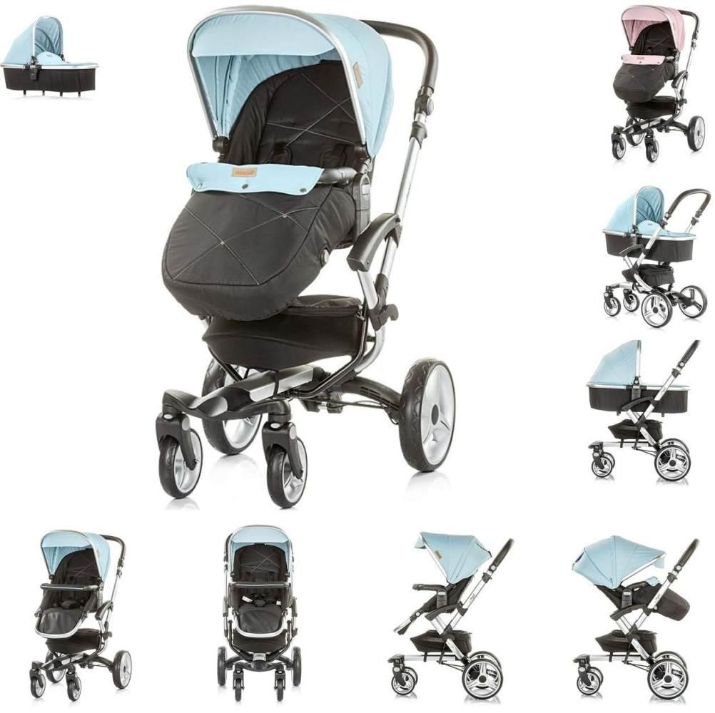 Chipolino Kinderwagen Angel 2 in 1, Babywanne, Sportsitz, Abdeckung, Ledergriff blau Bild 1