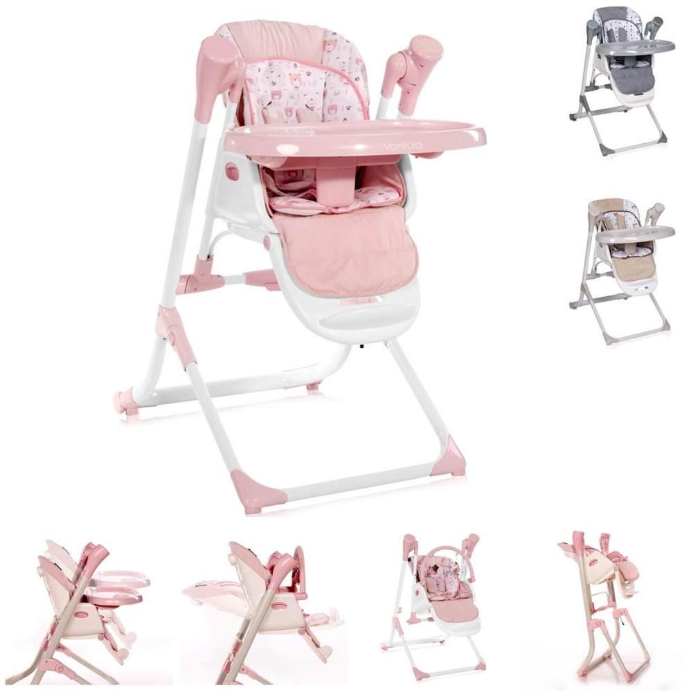 Lorelli Kinderhochstuhl, Babywippe Ventura 2 in 1 ab Geburt, Musik, verstellbar rosa Bild 1
