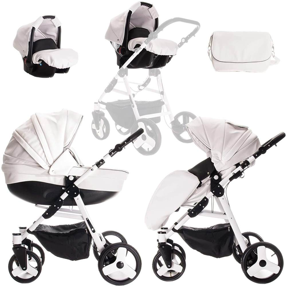 Friedrich Hugo Easy Comfort | 3 in 1 Kombi Kinderwagen Komplettset | Farbe: White Black & Leatherette Bild 1