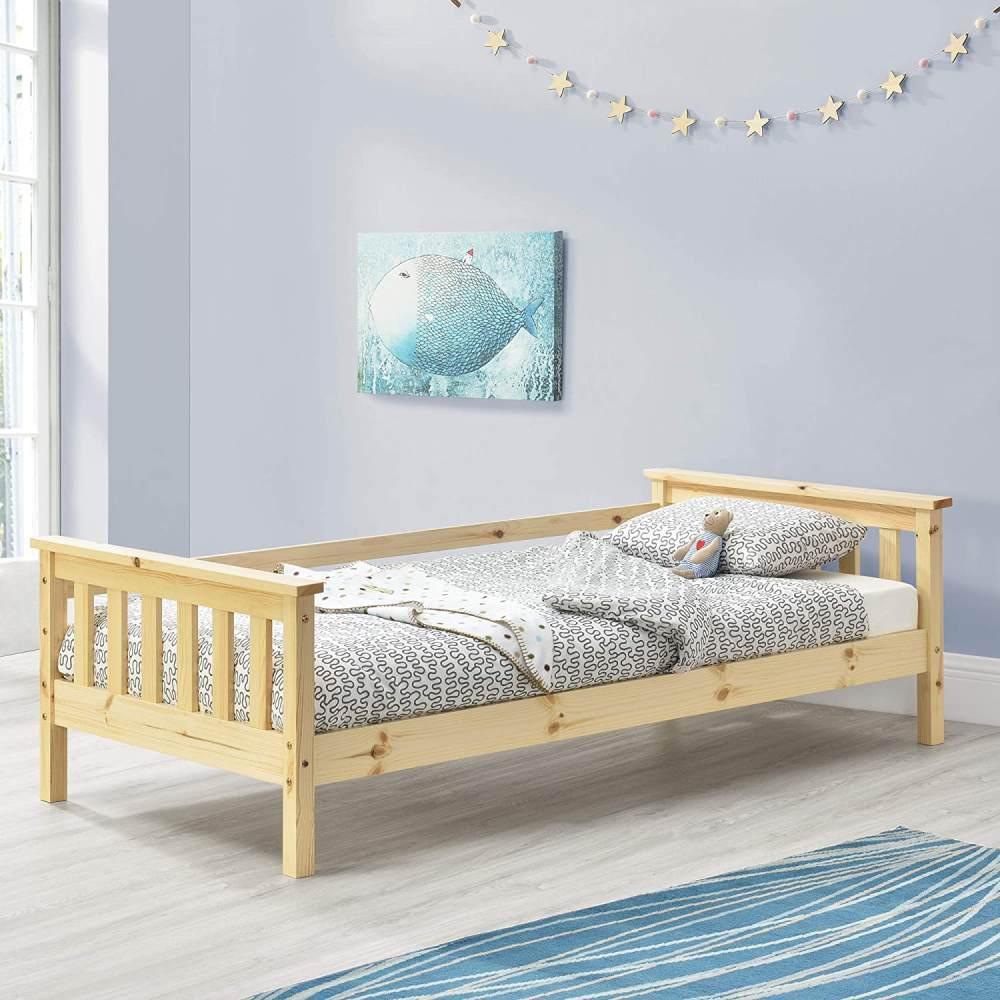 en.casa Kinderbett aus Kiefernholz mit Rausfallschutz und Lattenrost 70x140 cm, natur Bild 1