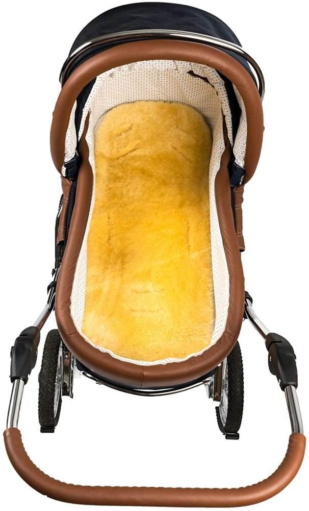 Hofbrucker Baby Lammfell-Auflage/Lammfelleinlage für Kinderwagen & Softtragetasche & Buggy & Kinderbett/Lammfell Einlage/Lammfell medizinisch gegerbt, Größe:Kinderwagen-Auflage 75x32 cm Bild 1
