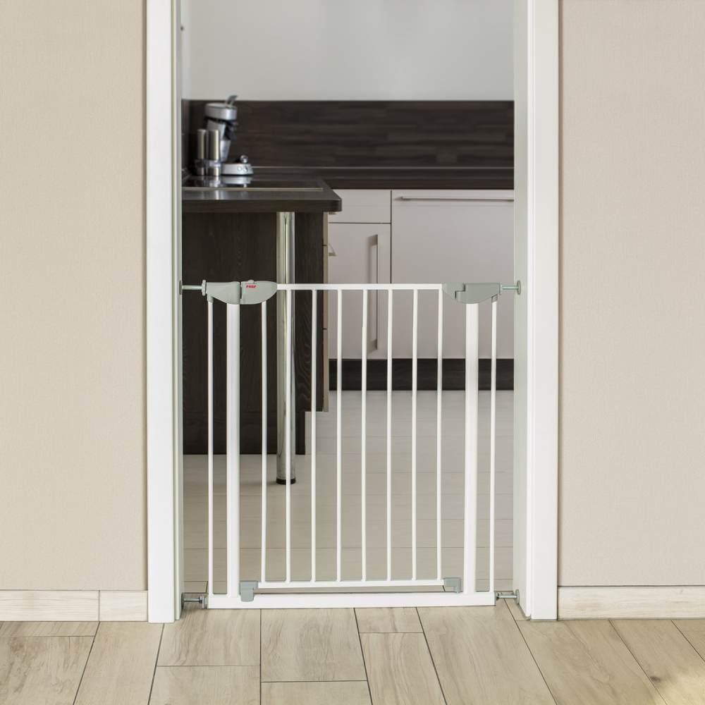 reer Tür- und Treppengitter, für Türbreiten 74 - 80,7cm, Klemmbefestigung, Metall, Weiß Bild 1