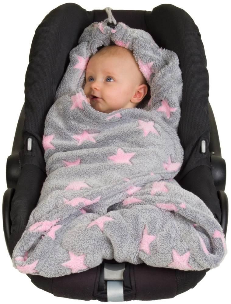 Hoppediz Fleece-Decke grau-rosé Sterne Bild 1