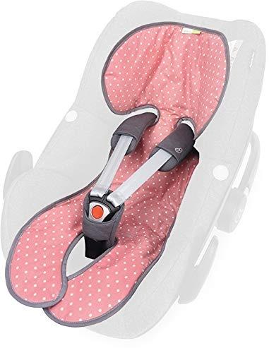 Priebes Sitzauflage Lola für Babyschalen Gruppe 0 mit Easy-out Gurtsystem | kühlt durch Luftzirkulation | Alternative zum Sommerbezug |atmungsaktiv&waschbar, Design:flamingos aqua Bild 1
