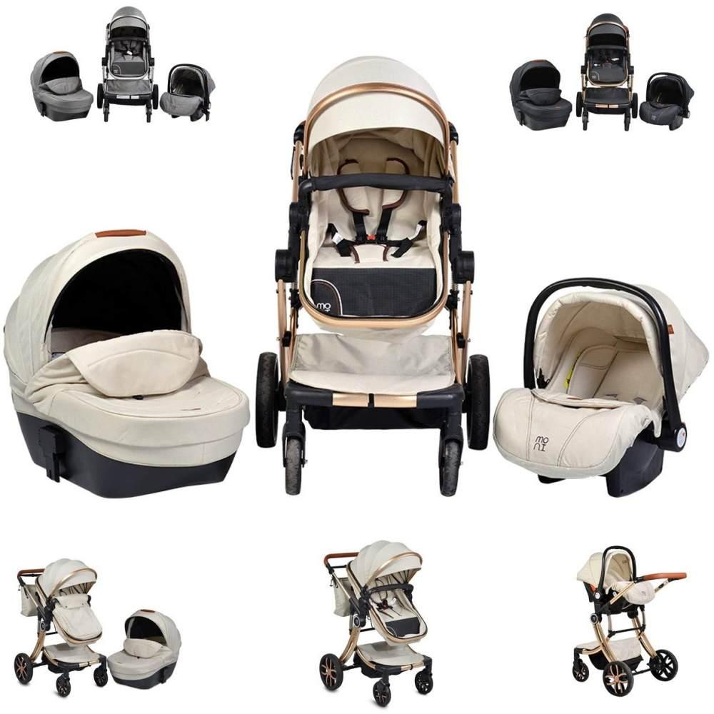 Moni Kinderwagen Polly 3 in 1 Babyschale, Babywanne, Sportsitz beige Bild 1
