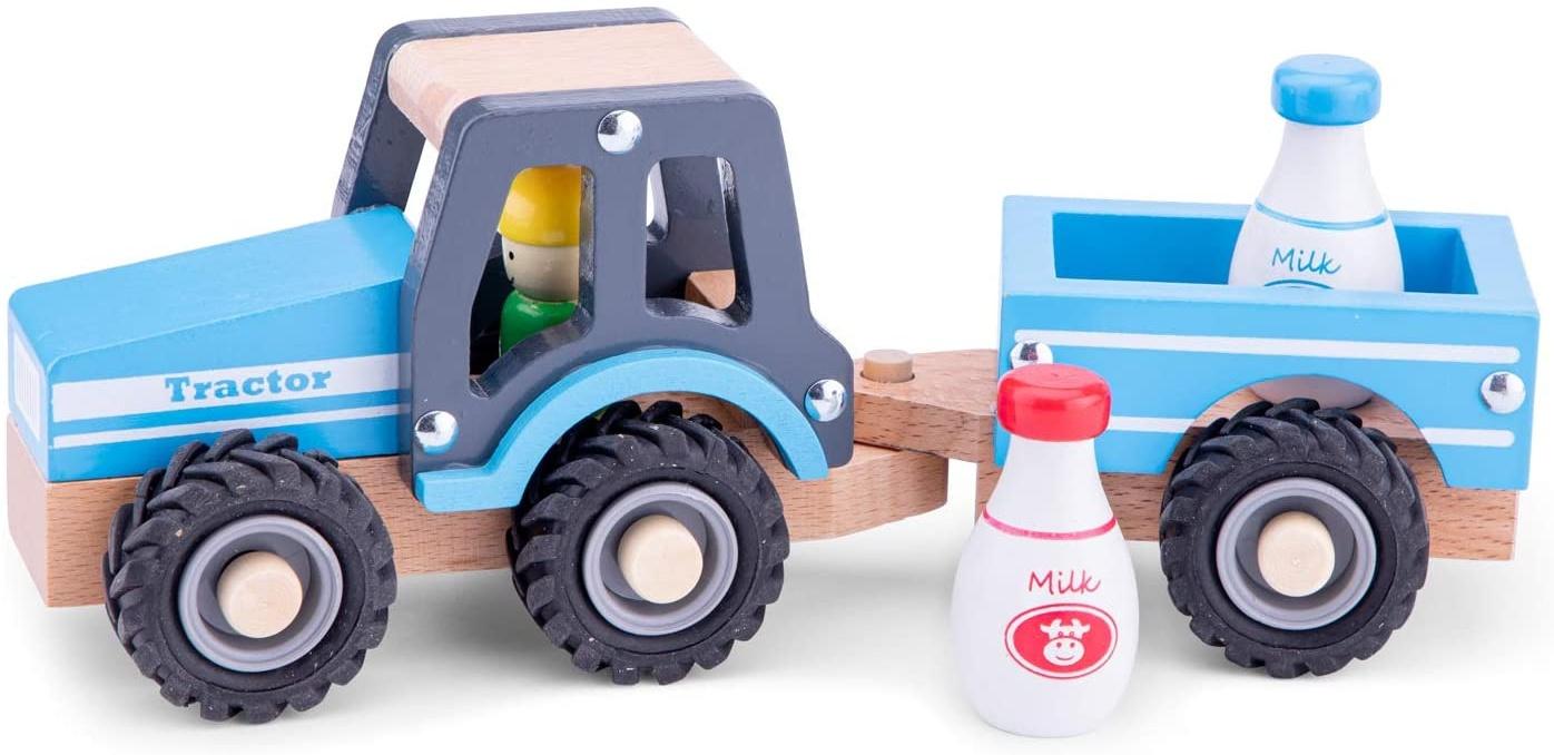 New Classic Toys - 11942 - Spielfahrzeuge - Traktor mit Anhänger und Milchkannen Bild 1
