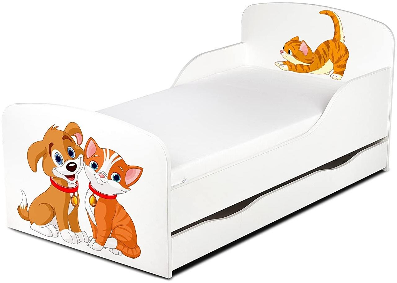 Leomark Kinderbett 70x140 cm, Hund und Katze, mit Matratze, Schublade und Lattenrost Bild 1