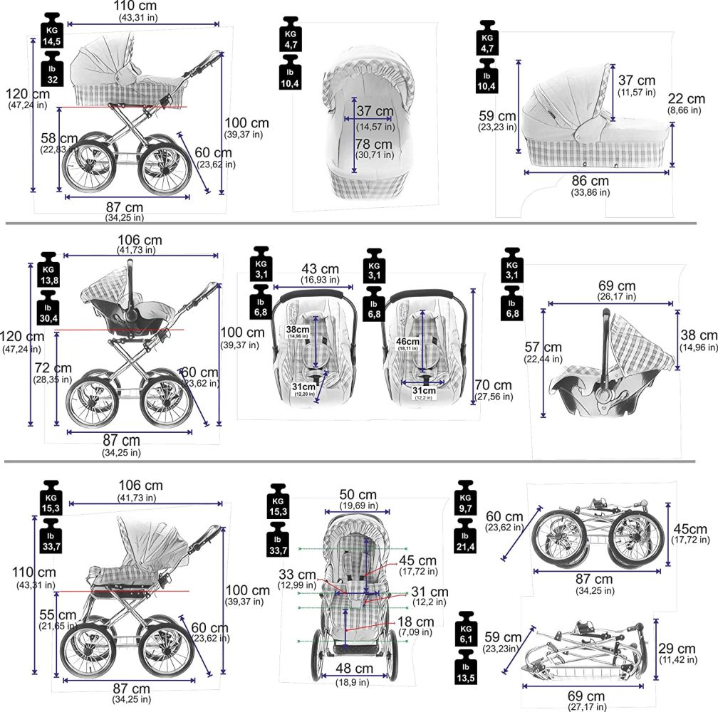 Friedrich Hugo Natureline Uni | 4 in 1 Kombi Kinderwagen | ISOFIX Set | Farbe: Elisabeth Silver Bild 1
