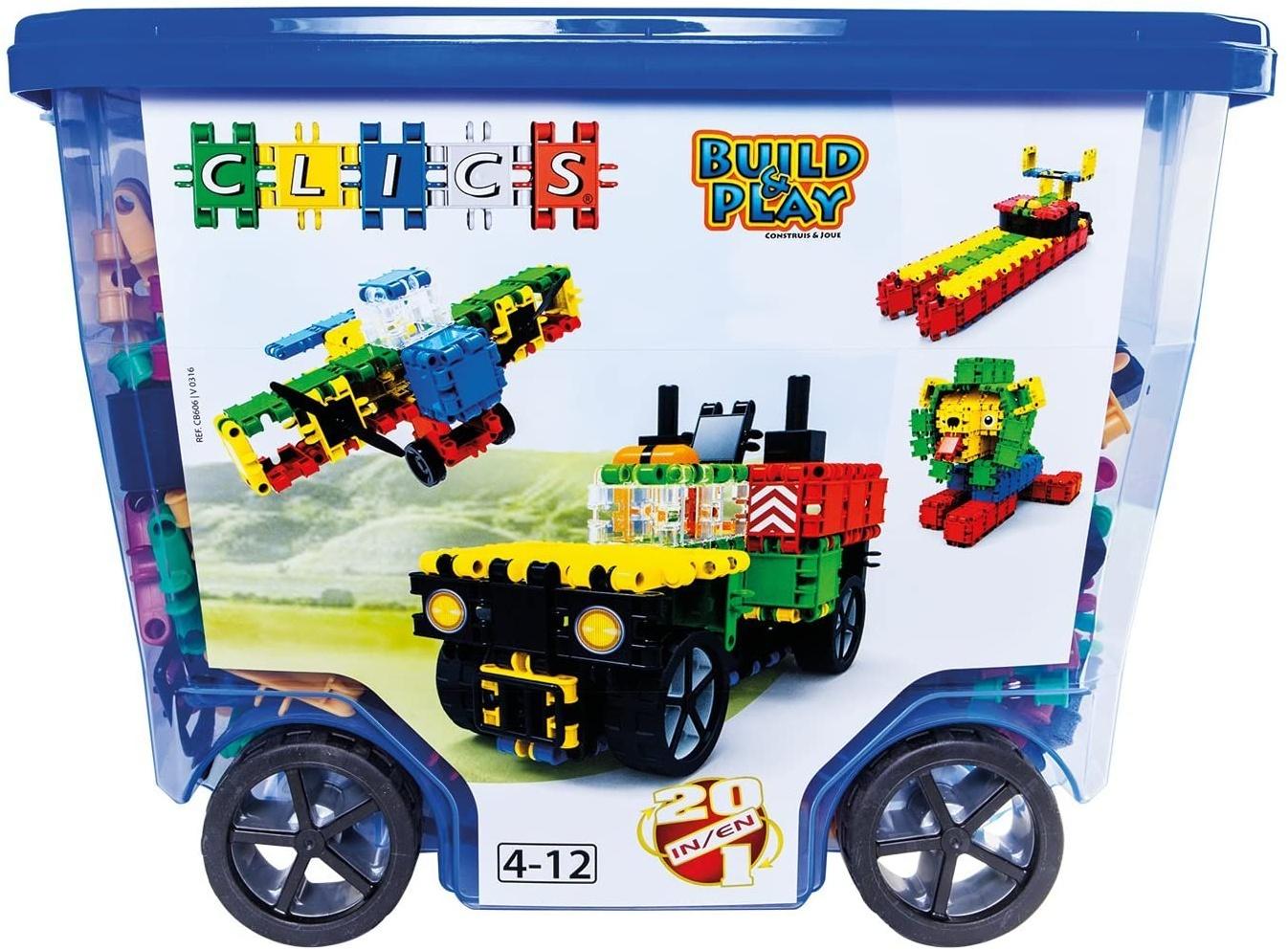 CLICS Konstruktionsspielzeug für Kinder ab 3 Jahre, kreatives Lernspielzeug im 560 Teile Set, Bausteine für Mädchen und Jungen, Montessori STEM-Spielzeug, Box mit Rollen 20 in 1, Bild 1