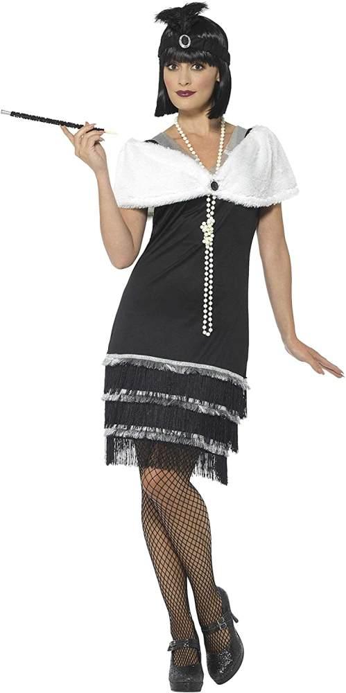 Smiffys Damen Flapper Kostüm, Kleid, Haarband und Fell Stola, Größe: 36-38, 43128 Bild 1