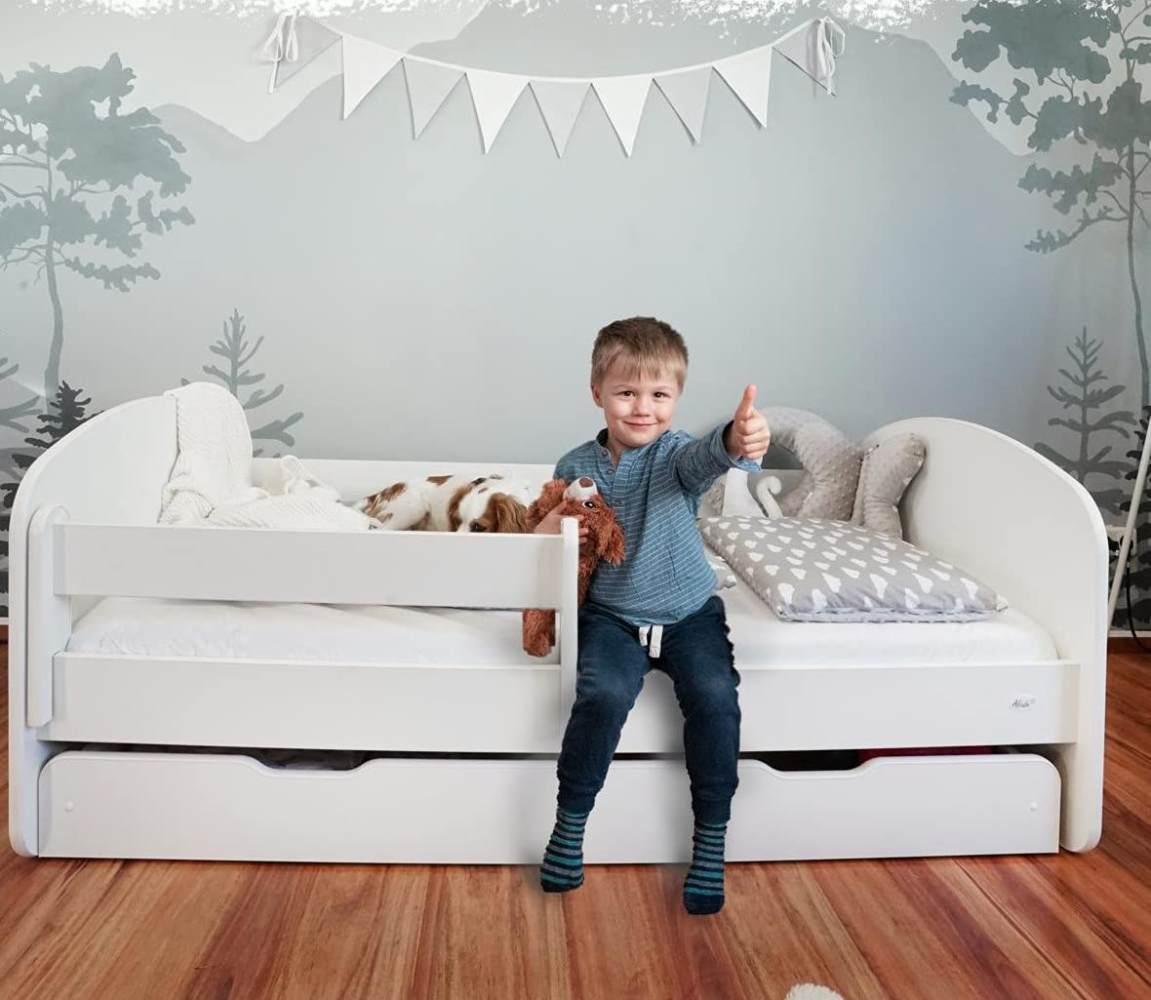 Alcube 'Milo' Kinderbett 70x140 cm, Weiß, mit Matratze, Rausfallschutz, Schublade und Lattenrost Bild 1