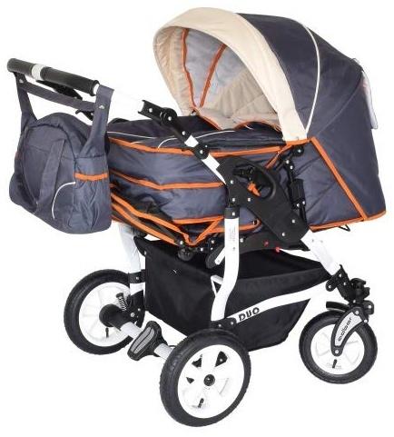 Adbor Duo Zwillingskinderwagen - weißes Gestell, Zwillingswagen, Zwillingsbuggy Farbe Nr. 15w graphit/beige/orange Bild 1