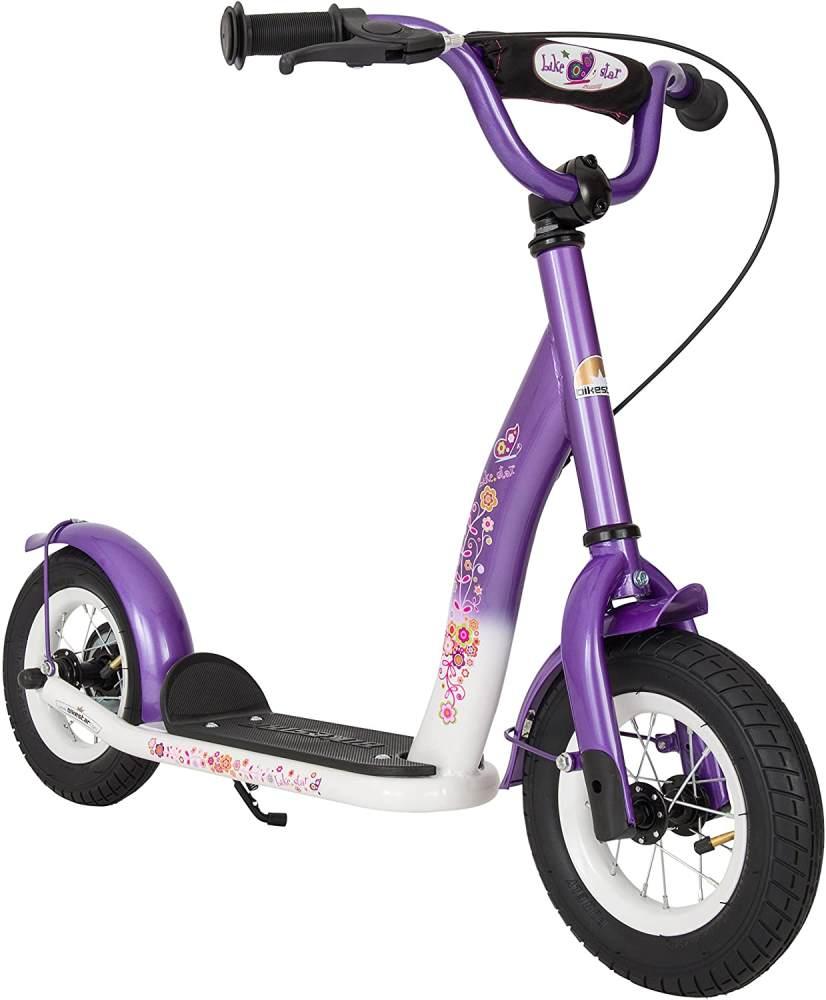 BIKESTAR Roller Kinderroller Tretroller Kickscooter mit Luftreifen für Mädchen ab 4-5 Jahre | 10 Zoll Classic Kinder Scooter | Lila & Weiß Bild 1