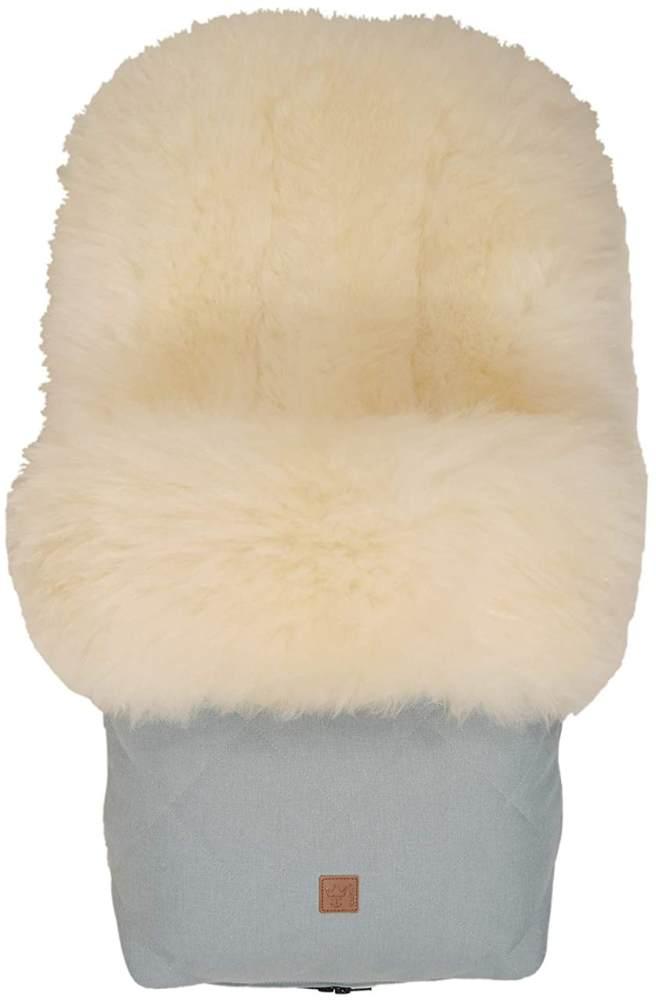 Lammfell Fußsack Nelly Limited Edition, Lammfell milky sand, ice green, universell einsetzbar Bild 1