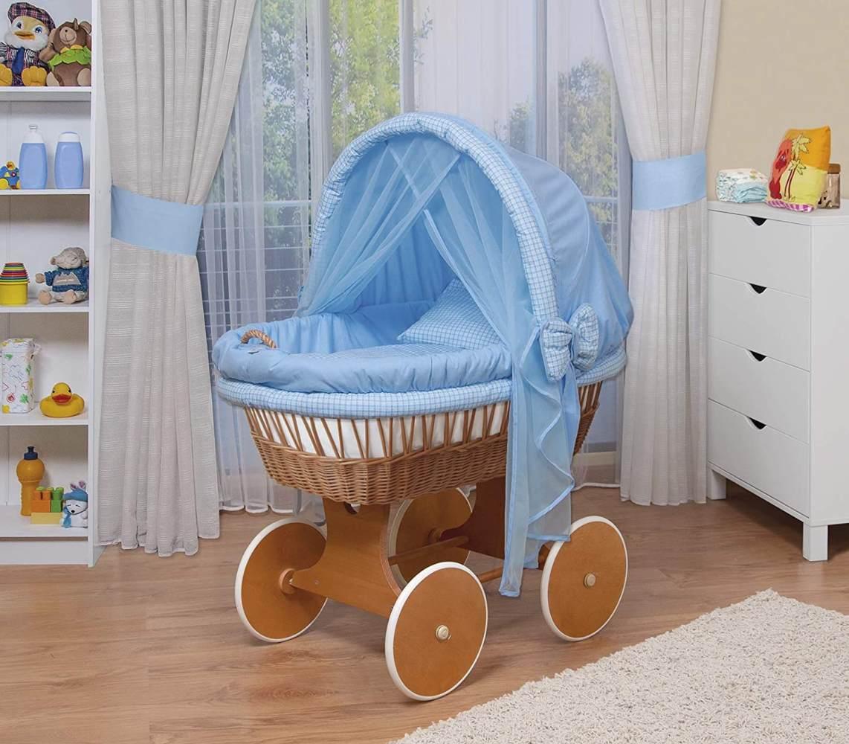 WALDIN Stubenwagen-Set mit Ausstattung, Gestell/Räder natur lackiert, Ausstattung blau kariert Bild 1