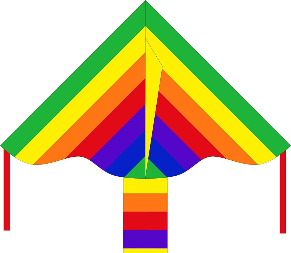 Ecoline 102130 - Simple Flyer Rainbow 85cm Kinderdrachen Einleiner, ab 5 Jahren, 42x85cm und 1.5m Drachenschwanz, inkl. 17kp Polyesterschnur 25m auf Griff, 2-5 Beaufort Bild 1