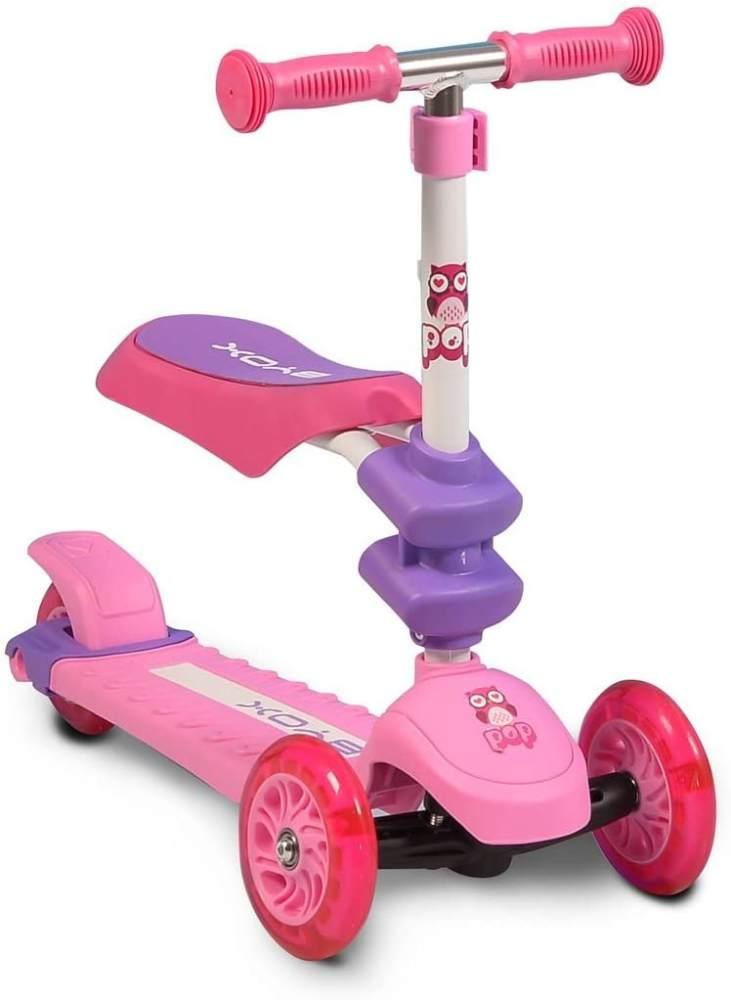 Byox Kinderroller Pop 2 in 1, Roller u. Laufrad, 3 PU Räder, ab 3 Jahre, Alu rosa Bild 1