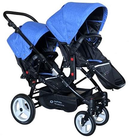 Babyfivestar Geschwisterwagen / Zwillingswagen Blue / Black Schwarzes Gestell Bild 1