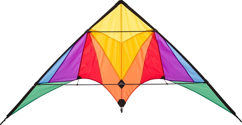 Ecoline 10216730 - Trigger Rainbow Lenkdrachen Zweileiner, ab 14 Jahren, 90x175cm, inkl. 40kp Polyesterschnüre 2x25m auf Spulen, 2-6 Beaufort Bild 1