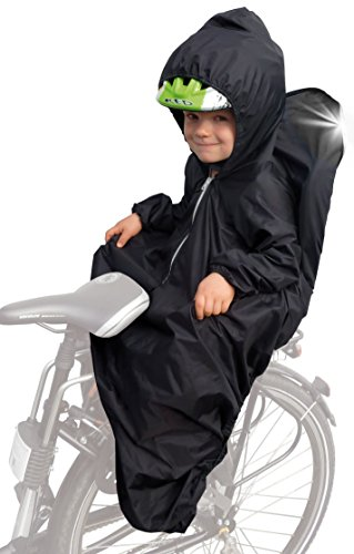 Sunnybaby 14490 Regencape für Kinderfahrradsitz mit Ärmel, Reflektorstreifen und für Kinderhelm geeigneter Kapuze, schwarz Bild 1