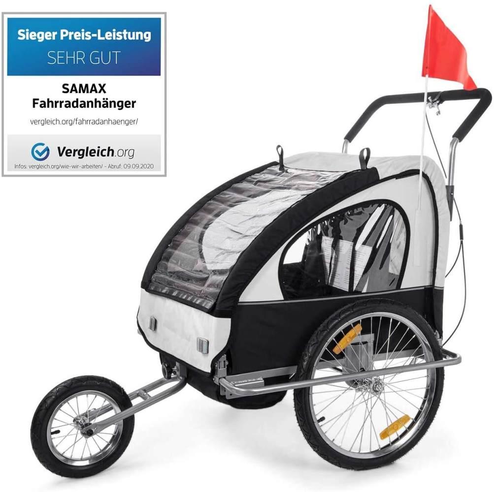 SAMAX 'Jogger 2in1' Fahrradanhänger schwarz/weiß/ Silver Frame Bild 1