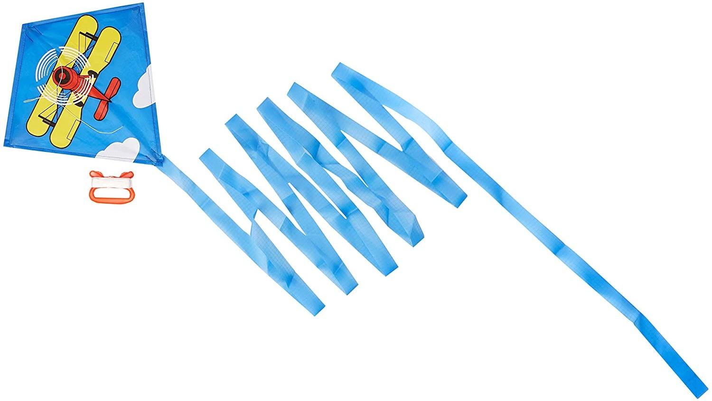 HQ 100016 - Mini Eddy Biplane Kinderdrachen Einleiner, ab 5 Jahren, 30x30cm und 400cm Drachenschwanz, inkl. 8kp Polyesterschnur 20m auf Griff, 3-6 Beaufort Bild 1