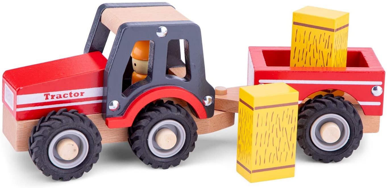 New Classic Toys - 11943 - Spielfahrzeuge - Traktor mit Anhänger und Heuballen Bild 1