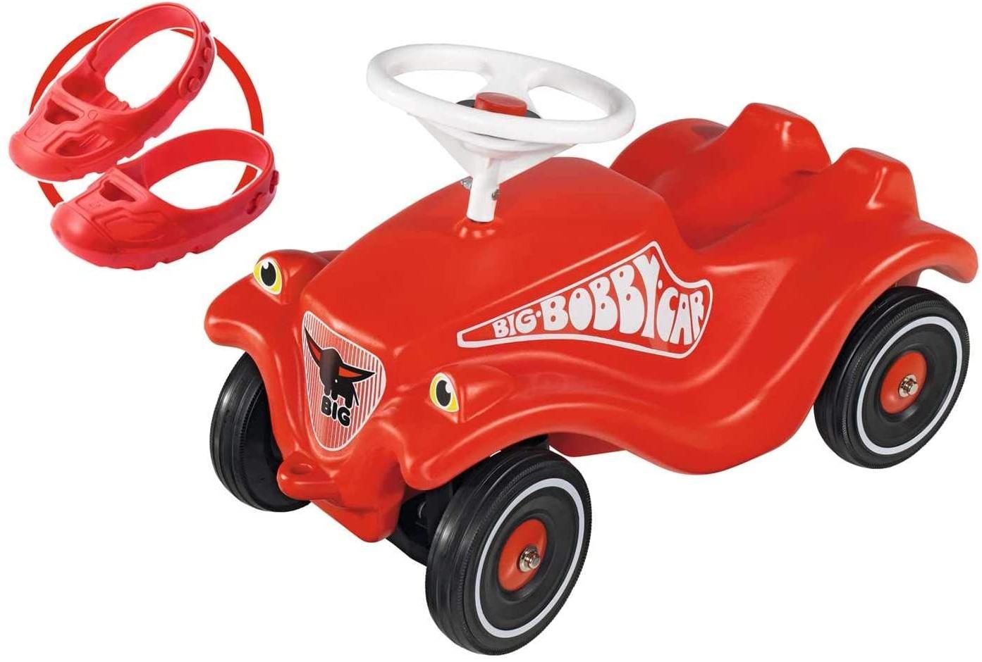 BIG 800056106 'Bobby Car Classic'-Set mit Flüsterrädern und Schuhschutz Shoe-Care, ab 12 Monaten, bis 50 kg belastbar, rot Bild 1