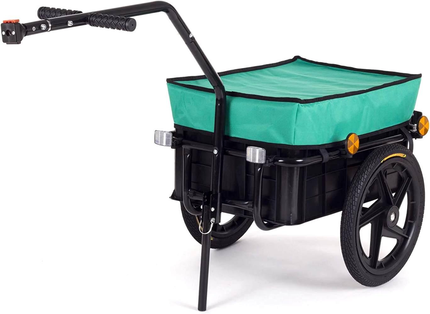 SAMAX Transportanhänger Fahrradanhänger Lastenanhänger Fahrrad Anhänger Handwagen mit Kunststoffwanne für 60 Kg / 70 Liter in Grün Bild 1