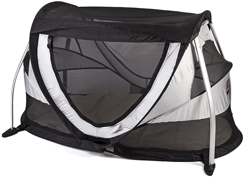 Deryan Peuter Box Reisebettzelt Kinderzelt Babyzelt Reisebettzelt inklusive Schlafmatte und Tragetasche mit Pop-Up innerhalb 2 Sekunden aufgebaut , silver Bild 1