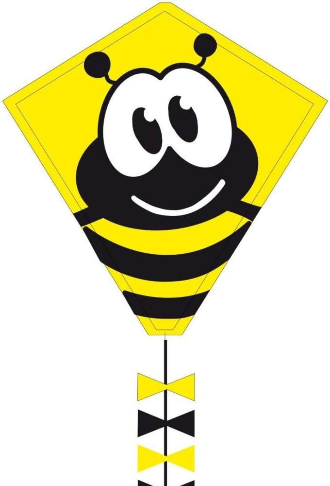 Ecoline 102104 - Eddy Bumble Bee 50cm Kinderdrachen Einleiner, ab 5 Jahren, 50x45cm und 2.5m Drachenschwanz, inkl. 10kp Polyesterschnur 25m auf Griff, 2-5 Beaufort Bild 1