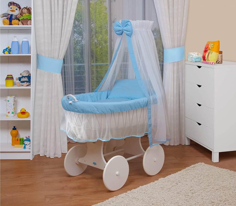 WALDIN Stubenwagen-Set mit Ausstattung Gestell/Räder weiß lackiert, Ausstattung blau/weiss Bild 1