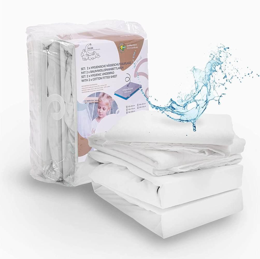 ALCUBE 4er Set aus 2x wasserdichter Matratzenauflage und 2x Baumwoll-Spannbettlaken, weiß, 200x90 cm Bild 1