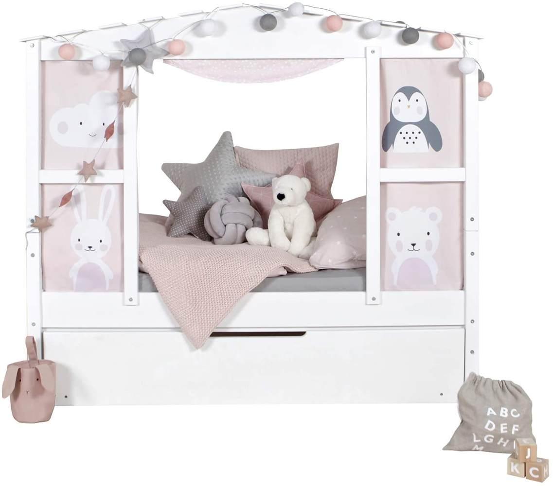 Ticaa 'Mini' Hausbett mit Bettkasten 'Amelie' Kiefer Weiß 80x160 Bild 1