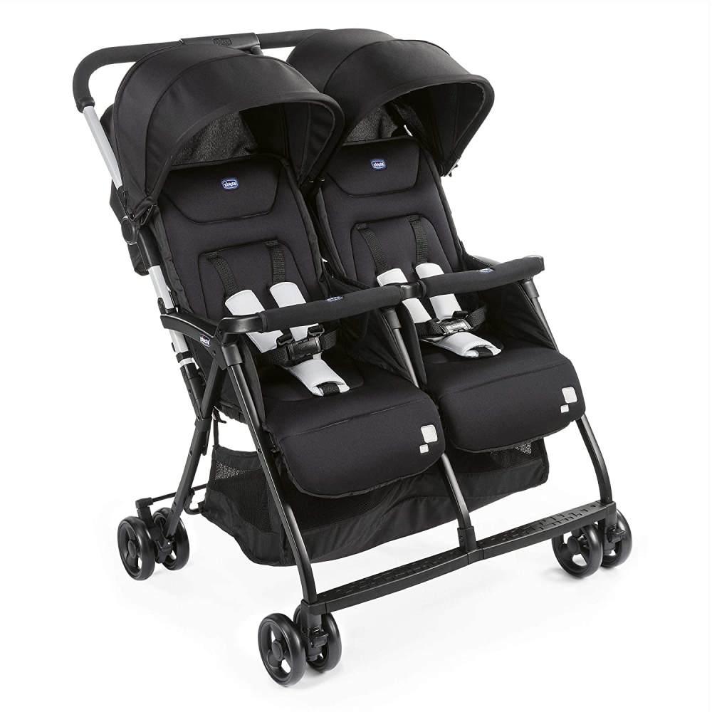 Chicco Zwilligsbuggy OHLALA' TWIN, ultra-leichtre und ultra-kompakter Geschwisterkinderbuggy für Babys und Kleinkinder ab Geburt inkl. Regenschutz, schwarz Bild 1