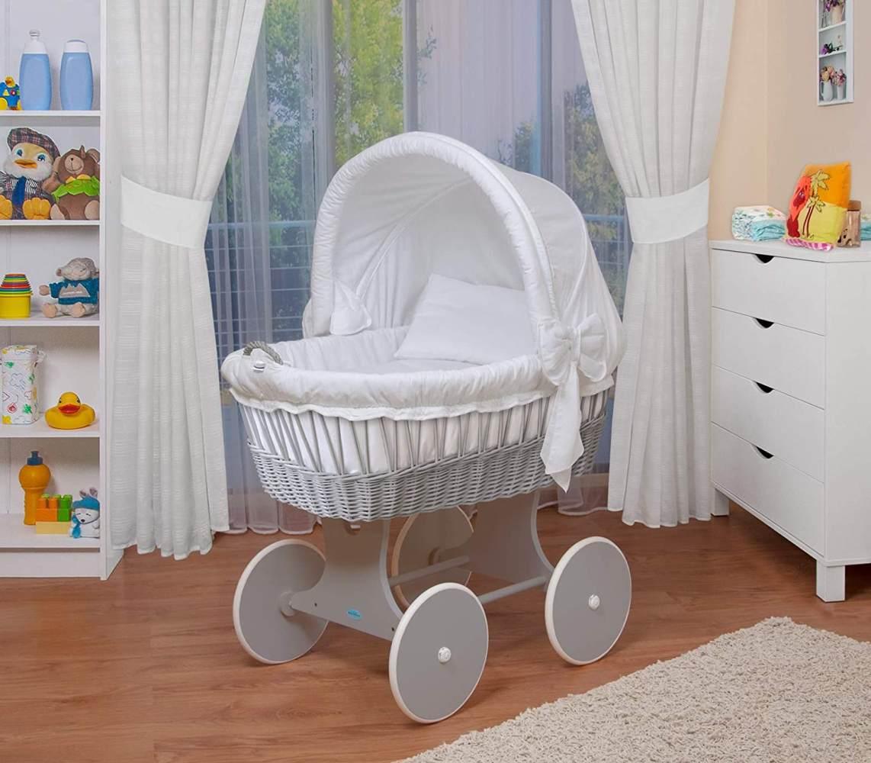 WALDIN Stubenwagen-Set mit Ausstattung, Gestell/Räder grau lackiert, Ausstattung weiß Bild 1