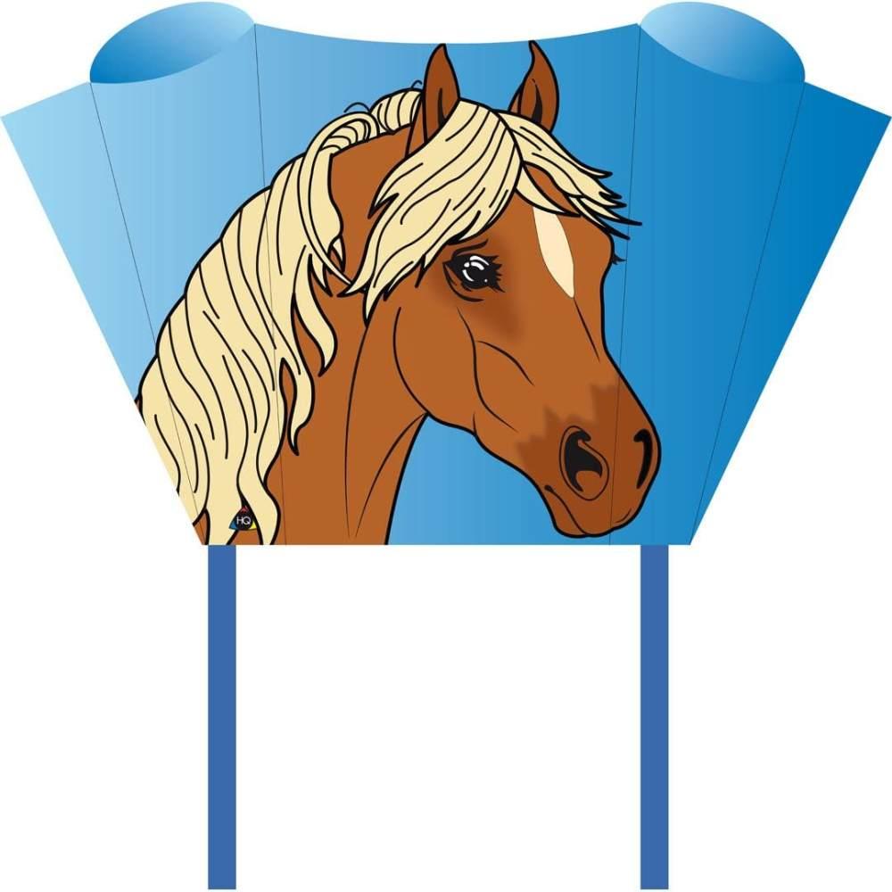 HQ100080 -Sleddy Pony Kinderdrachen Einleiner, ab 5 Jahren, 50x76cm und 1.9m Drachenschwanz, inkl. 17kp Polyesterschnur 40m auf Spule, 2-6 Beaufort Bild 1