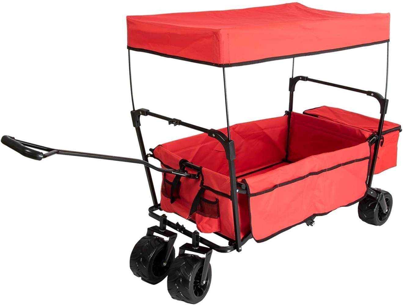 Grafner® 'Offroad' Bollerwagen schwarz/rot mit Dach Bild 1