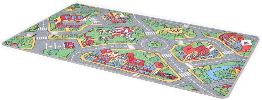 vidaXL Kinderteppich Schlingenpol 100 x 165 cm Stadtstraßenmuster Bild 1