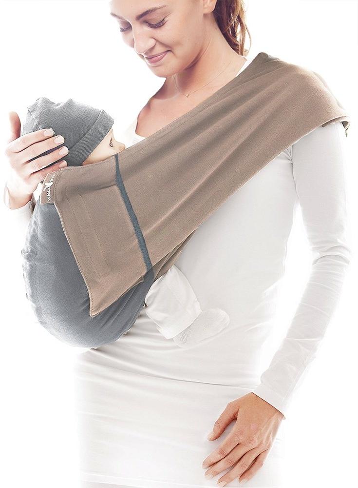 Wallaboo Baby Tragetuch Connection, 100% Baumwolle, Passt sich der Form Ihres Baby genau an, Atmungsaktiv, Weich, Ergonomische Babytragetuch, Für Neugeborene und Babys bis 15 kg, Farbe: Taupe / Grau Bild 1