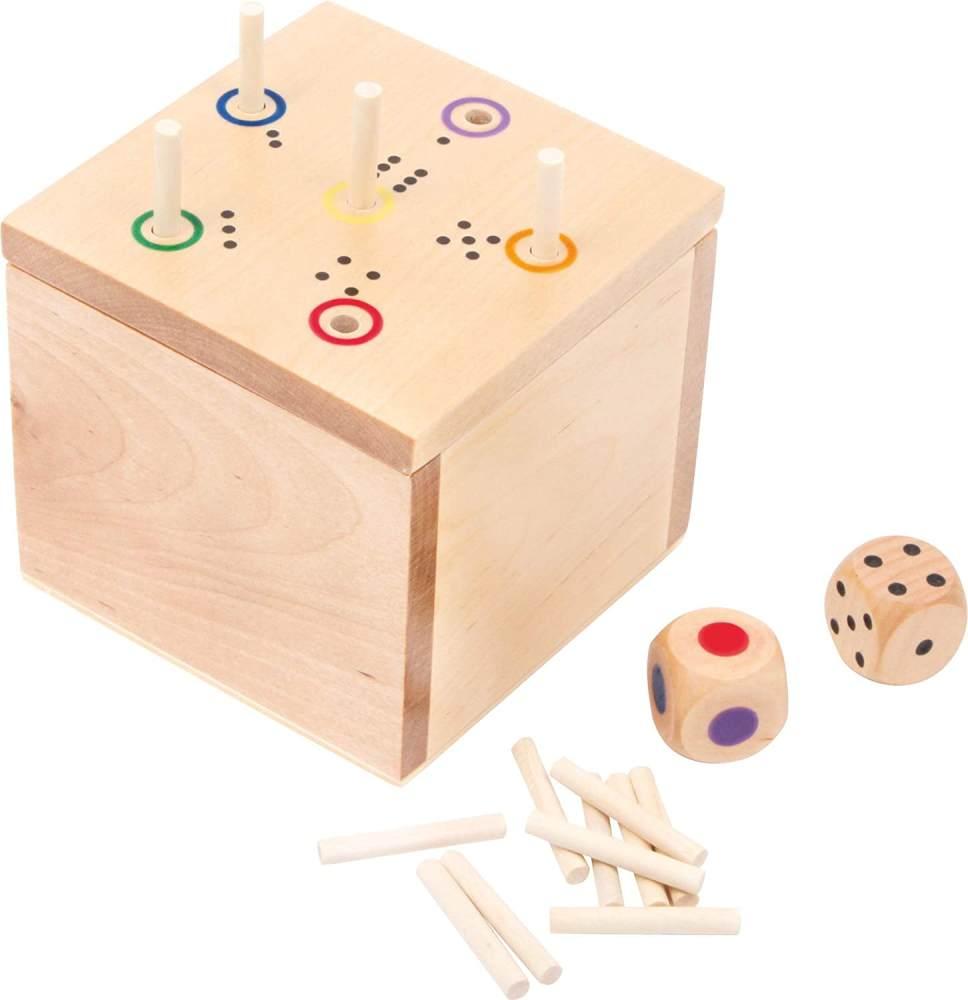 """small foot 6558 Gesellschaftsspiel """"Würfel Ass"""" aus Holz, schnell erlerntes Würfelspiel mit zwei Würfeln, ab 5 Jahren Bild 1"""