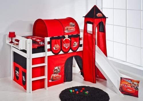 Lilokids 'Jelle' Spielbett 90 x 200 cm, Disney Cars, Kiefer massiv, mit Turm, Rutsche und Vorhang Bild 1